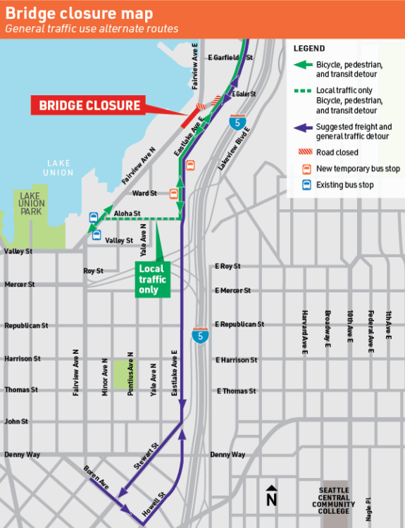 Map of the detour routes, showing a biking, walking and transit detour via Aloha Street.