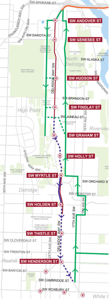 Map of the project's bike elements. Southbound cyclists are routed one block west between Andover and Juneau. Northbound cyclists are routed a block or so east of the route for the entire length.