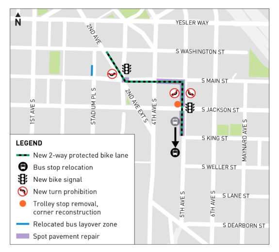 Map of the south downtown bike route, which travels from 2nd Ave to 5th Ave via S Main Street and from Main to King Streets on 5th Ave.