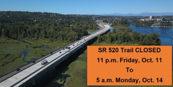 Aerial photo of the SR520 Bridge with text outlining the weekend closure.