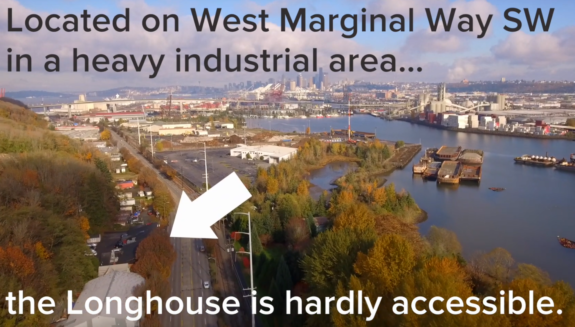 Aerial photo of a wide street with an arrow pointing to the Duwamish Longhouse. Text: Located on West Marginal Way SW in a heavy industrial area the Longhouse is hardly accessible.