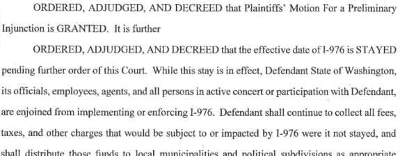 Excerpt from the court decision (not readable by screen readers). Excerpt: Ordered, adjudged, and decreed that plaintiffs' motion for a prelminary injunction is granted. it is further ordered, adjudged, and decreed that the effective date of I-976 is stayed pending further order of this court. While this stay is in effect, Defendant State of Washington, its officials, employees, agents, and all persons in active concert or participation with defendant, are enjoined from implementing or enforcing I-976. Defendent shall continue to collect all fees, taxes, and other charges that would be subject to or impacted by I-976 were it not stayed...