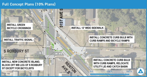 Map overview of the 51st and Renton project, which includes bike lane and crosswalk improvements.