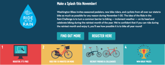 Ride In The Rain website screenshot. Text: Make a Splash this November! Washington Bikes invites seasoned pedalers, new bike riders, and cyclists from all over our state to bike as much as possible for any reason during November 1-30. The idea of the Ride in the Rain Challenge is to turn a common barrier to biking — inclement weather — on its head and celebrate biking during the rainiest month of the year. We're confident that if you can ride during the rainiest month and enjoy it, you'll see how possible it is to bike all year round!