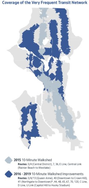 Map of Seattle comparing the area of the city served by 10-minute frequency buses before and after the Seattle Transportation Benefit Distict investements.