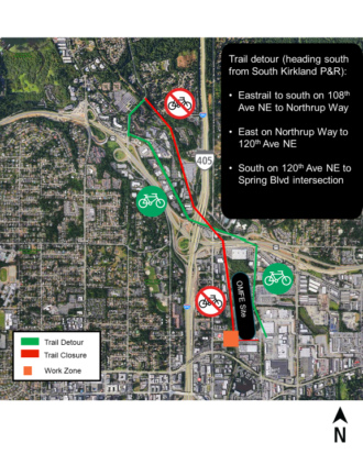 Map of the trail closure and detour route.