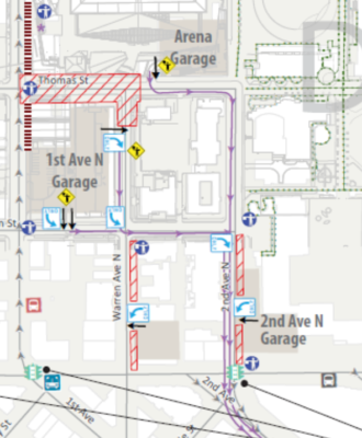 Map of the traffic plan for 1st, Warren and 2nd Avenues N, including two new parking garages that empty onto 2nd Ave.