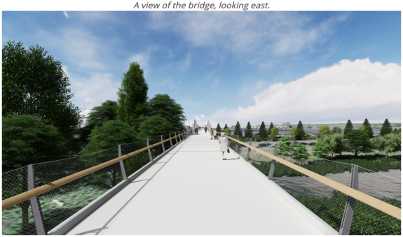 Concept image looking east across the future bridge. It is one wide space shared by people walking and biking.