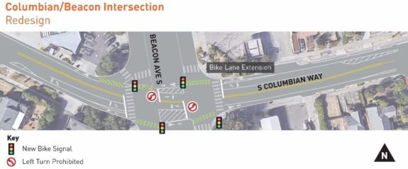 Top-down design concept showing the bike lane extending all the way to the intersection.