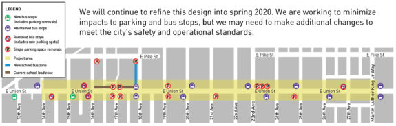 Map showing more project detail, including bus stop locations and parking restrictions.