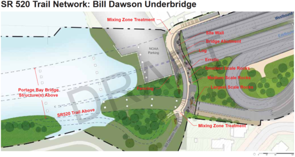 Map of the Bill Dawson Underbridge concept just west of Montlake Blvd.