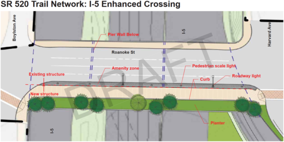 Map of the proposed Roanoke Street I-5 crossing.