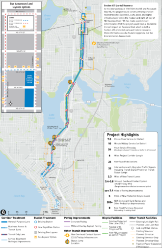 Map of the project noting where bike and bus improvements will happen.