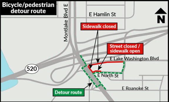 Map of the sidewalk closure and detour route. The sidewalk is closed on the east side of Montlake Blvd between East North Street and East Lake Washington Blvd and on East Lake Washington Blvd from Montlake Blvd to 24th Avenue East. The detour crosses Montlake Blvd at signalized intersections at East Lake Washington Blvd and just north of East Roanoke Street, and poeple walking and biking are to use the west sidewalk between those streets..