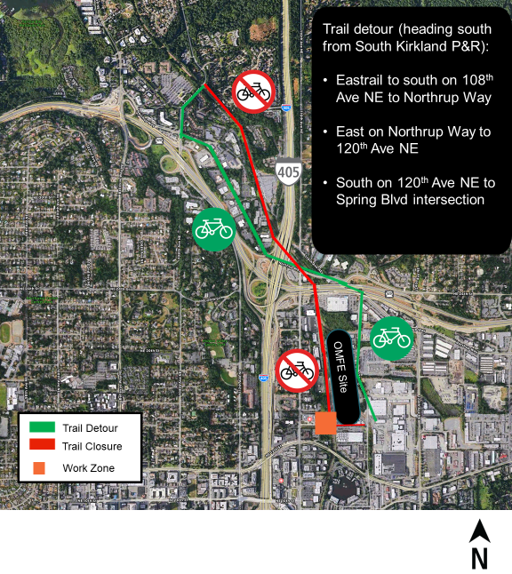 Map of the closure and detour route. Detour description: In order to continue through to 120th Avenue Northeast, you'll need to follow the following detour (Coming from the north, at the South Kirkland Park-and-Ride): Detour off the trail to the existing bike lane/sidewalk on 108th Avenue Northeast to Northup Way Use existing bike lane/sidewalk on Northup Way/20th Avenue Northeast Head south on 120th Avenue Northeast to Spring Boulevard intersection.