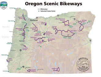 Carte des pistes cyclables panoramiques de l'Oregon.