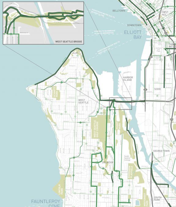 West Seattle section of the Seattle Bike Map