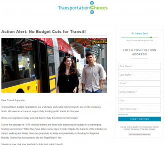 Screenshot of the Transportation Choices Coalition action alert website.