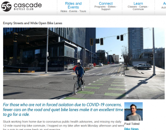 "Screenshot from a Cascade Bicycle Club blog post ""Empty Streets and Wide Open Bike Lanes"""