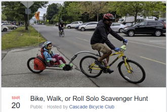 Screenshot of the event listing. Photo is of a person riding a bike with a child in an attached trail-a-bike.