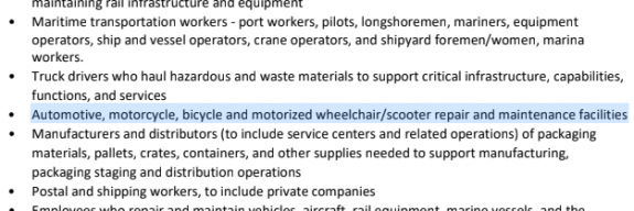 Excerpt from the WA order exempting bicylce repair facilities.