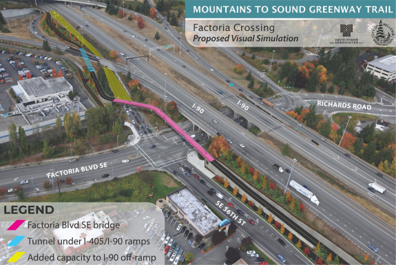Overhead concept image showing the new trail bridge over Factoria Blvd.