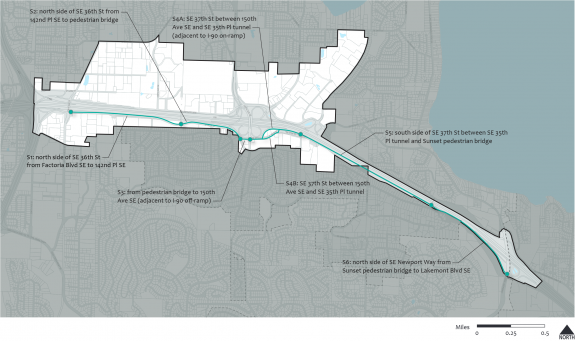 Map of the planned I-90 Trail improvements in Bellevue.