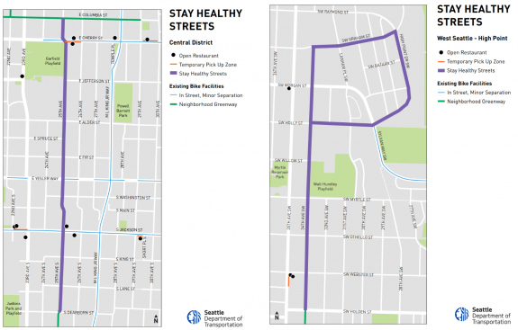 Maps of the first two Stay Healthy Streets.