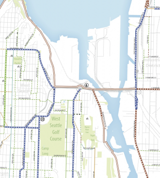Excerpt from the Bicycle Master Plan map showing projects in and near West Seattle.