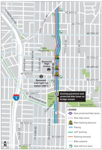 Map of the 15th Ave NE project between 55th and Lake City Way