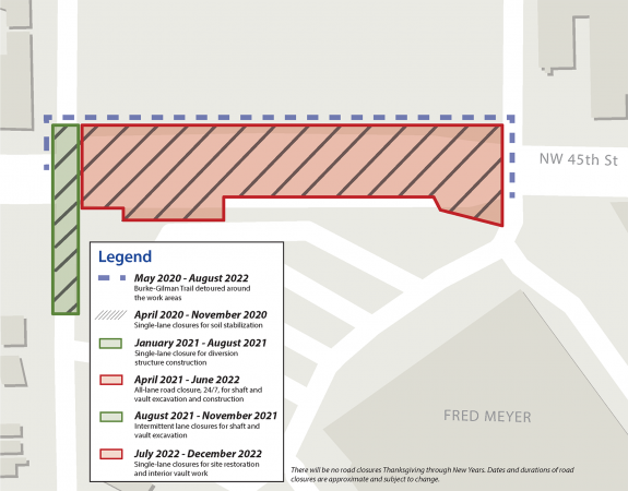 Map of the construction site with timelines for closures. The detour is listed as May 2020 to August 2022