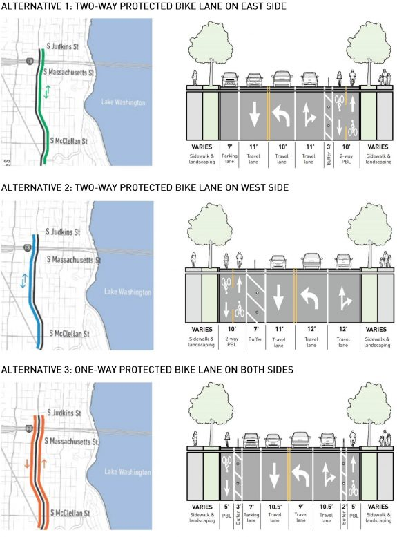 Maps and diagrams of each bike lane option.
