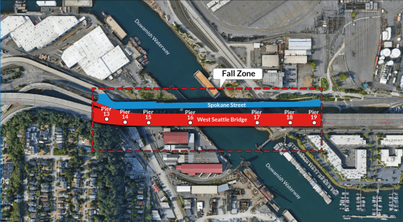 Map showing the bridge fall zone.