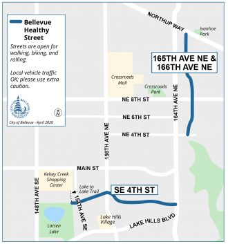 Map of the Bellevue Healthy Streets.