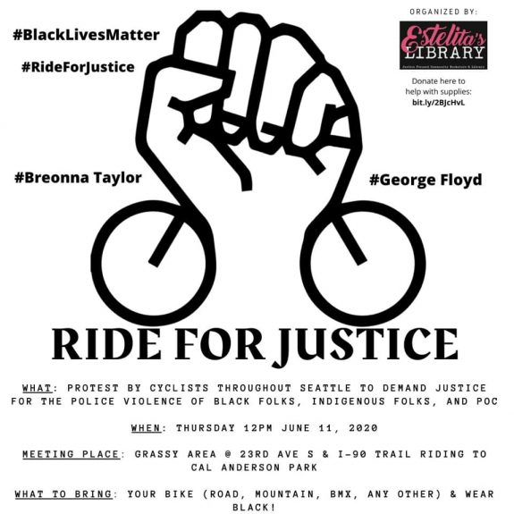 Poster image for the ride for justice featuring a drawing of a raised fist with bicycle wheels. Details in the story text.