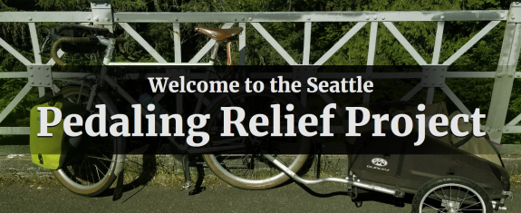 Image of a bicycle with a trailer. Text: Welcome to the Seattle Pedaling Relief Project.