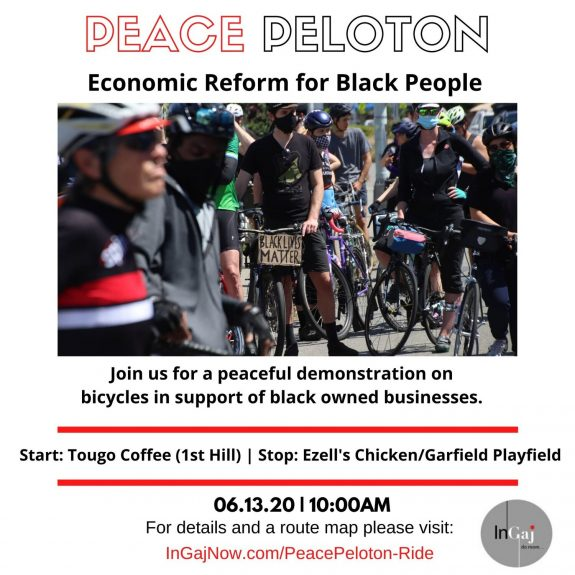 Peace Peloton event poster: Economic reform for Black people. Join us for a peaceful demonstration on bicycles in support of the Black owned businesses.