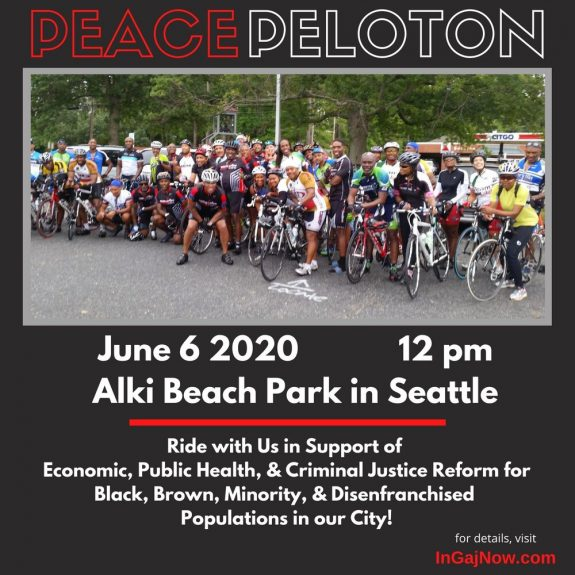 Promo image with photo of a large group of people with bikes. Peace Peloton. June 6 2020, 12PM. Alki Beach Park in Seattle.