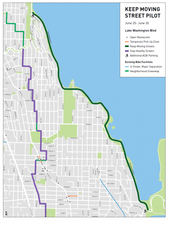 Map of the Lake Washington Blvd keep moving street