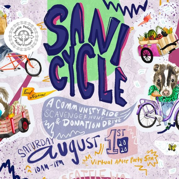 Promotional image with a collage of animals and bikes with trailers and vegetables. Text: Sani Cycle: A commnity ride, scavenger hunt and donation drive. Saturday August 1st, 2020. 10AM to 1PM. Virtual after party 5PM.