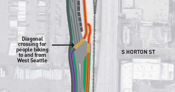 Design concept of the S Hanford St crossing.