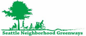 Seattle Neighborhood Greenways logo, featuring an outline of a tree, a person sitting on a bench, a person running with a dog, a kid riding a bike and a parent riding a bike with kids.