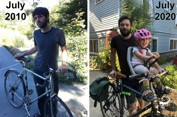 Side-by-side photos of a person standing with a bicycle. The left is labeled 2010, the right is labeled 2020. In the right photo, a child is in a seat on the bike.