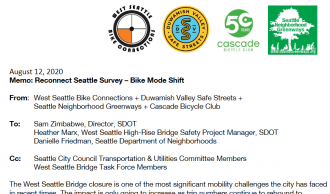 Start of the letter, featuring logos from West Seattle Bike Connections, Duwamish Valley Safe Streets, Cascade Bicycle Club and Seattle Neighborhood Greenways. Text in linked PDF.