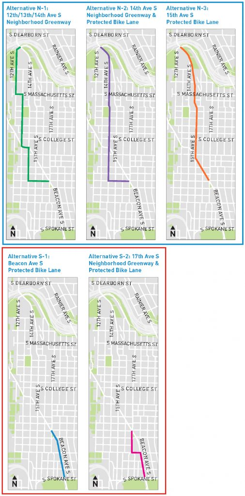 Maps showing three options for the section betweent the Jose Rizal Bridge and S McClellan Street, then two option between McClellan and S Spokane Street.
