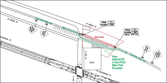 Map showing the planned Ship Canal Detour through a nearby parking lot.