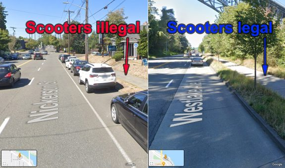 """Two photos side-by-side of streets with sidewalks. One says """"scooters illegal"""" and one says """"scooters legal"""""""
