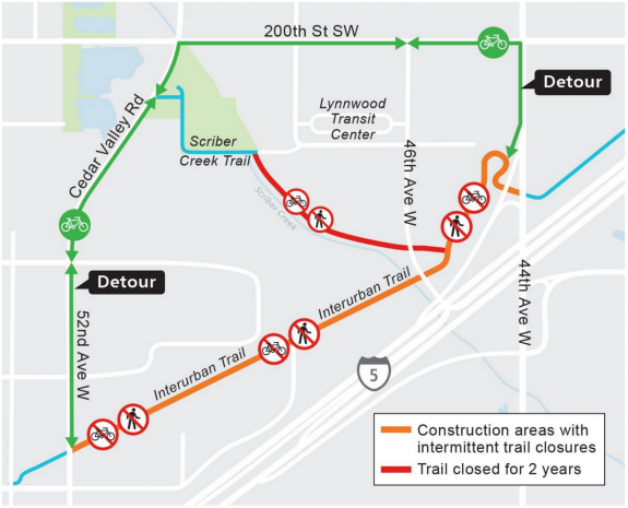 Map of the planned closures and detours near Lynnwood Park and Ride.