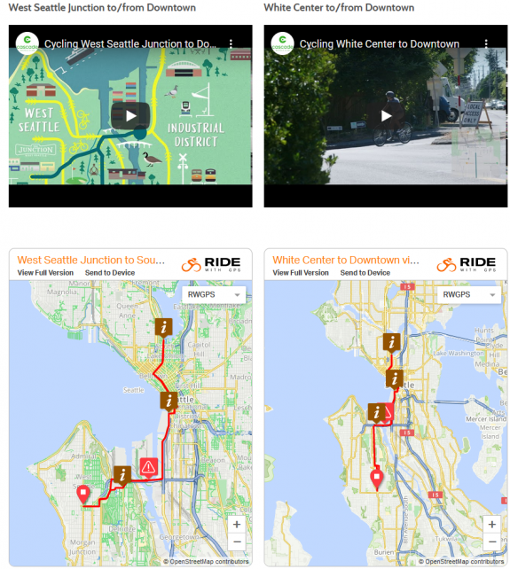 Screenshot of the video thumbnails and maps from the Cascade website.