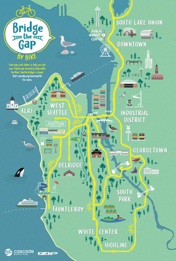 Illustrated map showing common West Seattle bike routes.